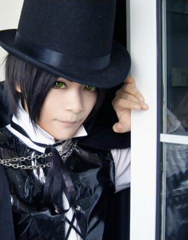 Count Cain short black anime cosplay full wig