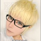 Haikyuu tsukishima kei short light gold anime cosplay full wig