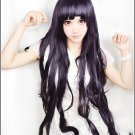 super DANGANRONPA Tsumiki Mikan long straight black purple anime cosplay full wig