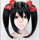 LOVE LIVE Yazawa Niko asymmetry sidebums Black anime Cosplay wig 2 tails + hair bowknot