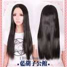 high quality heat resistant long straight black 80cm cosplay wig