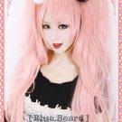 Danganronpa Dangan-Ronpa Junko Enoshima pink Ponytails Cosplay Costume Wig + Hairpins