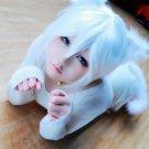 Animal anthropomorphic white cat short cosplay wig