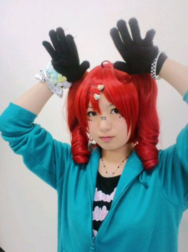VOCALOID TETO red curly anime cosplay wig two clip curly ponytails