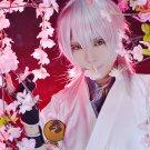 Furari no ken Tsurumarukuninaga 60cm long silver white anime cosplay wig