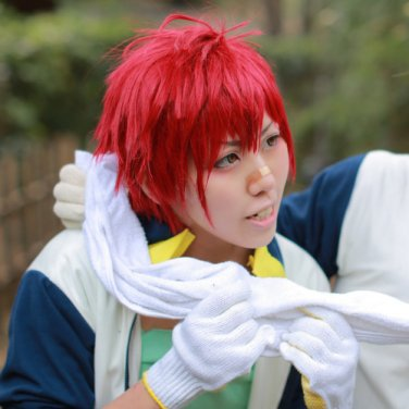 Furari no ken short red anime cosplay wig