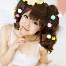 Japanese Harajuku zipper lovely Lolita brown cosplay wig two curly ponytails