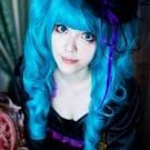 VOCALOID MIKU dark blue 2 curly 65cm ponytails cosplay wig