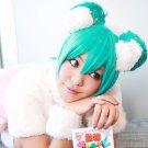 VOCALOID Diva MIKU bathrobe style light green 2 Buns anime cosplay party full wig