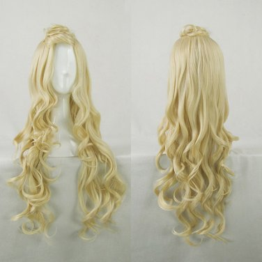 ZONE-00 HIME 80cm long curly blonde anime cosplay wig