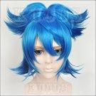 Furari no ken Sayosamonji short blue one ponytail anime cosplay wig