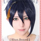 Furari no ken MikazukiMunetika short blue black cosplay wig