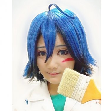 Yowamushi Pedal Manami Sangaku blue mix short cosplay wig ANIME fashion hair