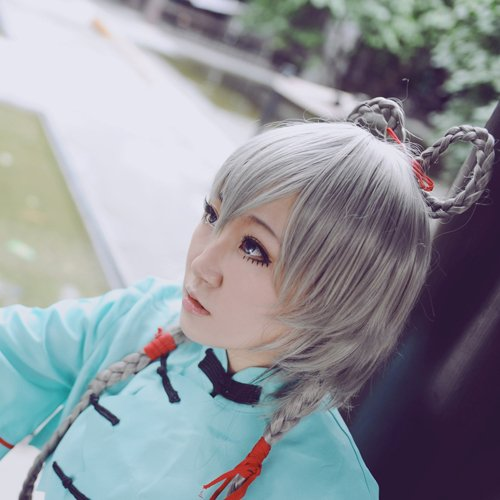 Vocaloid china Luotianyi gray cosplay wig 100cm braid