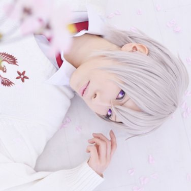 Hanaoni: Koisomeru Koku Eikyuu no Shirushi short silver white cosplay wig