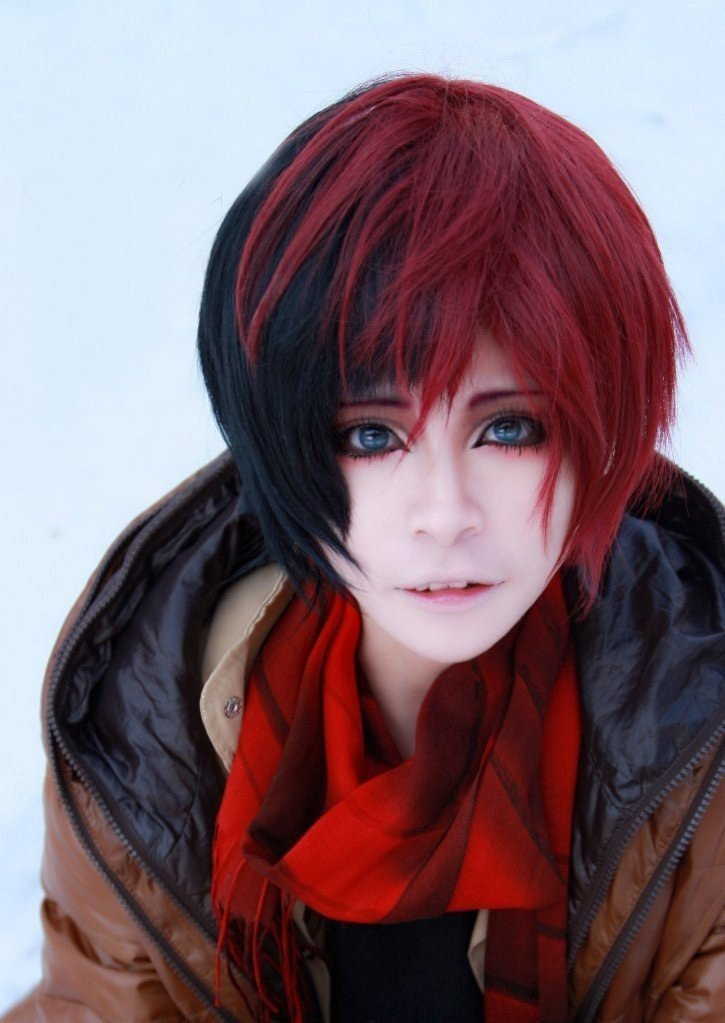 Harajuku zipper fashion black red short cosplay wig