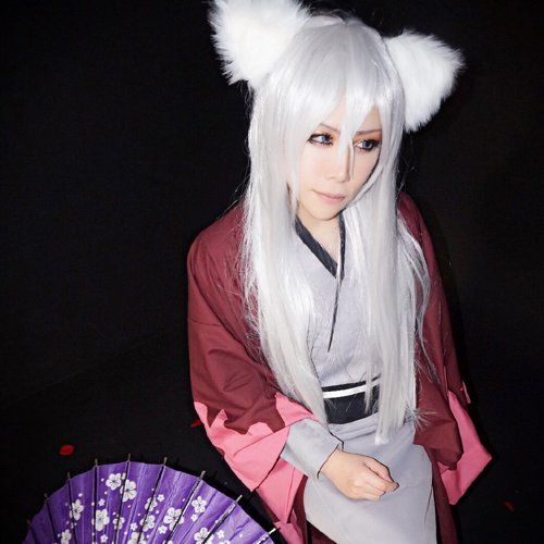 Kamisama Hajimemashita tomoe long straight silver white 80cm cosplay wig