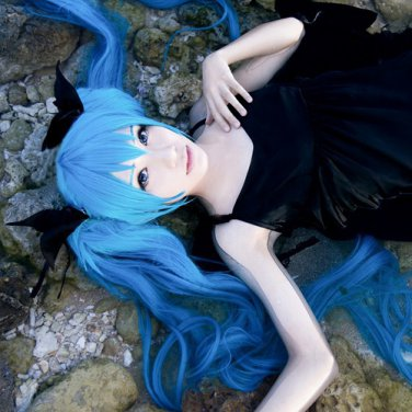 VOCALOID Hatsune Miku Deep Sea Girl long dark blue 120cm ponytails cosplay wig
