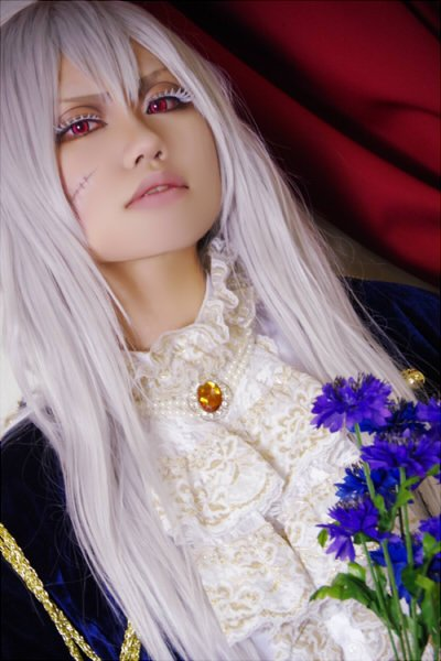 Axis powers Julchen Beillschmidt Eugenia long silver white 100cm anime cosplay wig