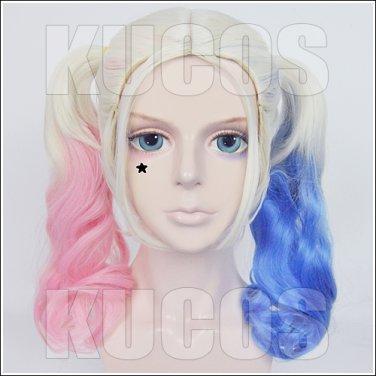 Harley Quinn Harleen Quinzel pink blue anime cosplay wig