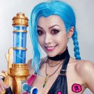 League of Legends Jinx blue 120cm braid cosplay wig