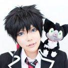 Ao no Exorcist Okumura Rin Okumura short black cosplay wig + teeth