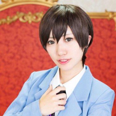 Ouran High School Host Club Fujioka Haruhi short brown cosplay wig