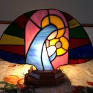 Stained Glass Fan Madonna w/ Wood Base & Electric Light