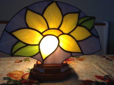 Stained Glass Sunflower Fan w/wood base & electric light