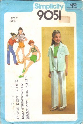 Vintage 1970's Girls Shirt Bias Halter Pants Shorts Simplicity 9051 Sewing Pattern Size 7