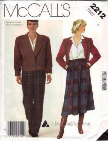 1980's LIZ CLAIBORNE Misses Jacket Skirt Pants Suit UNCUT McCall's 2212 Sewing Pattern Size 6