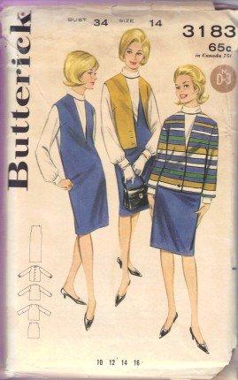 Vintage 1960's Misses Jumper Jacket Blouse Suit Butterick 3183 Sewing Pattern Size 14