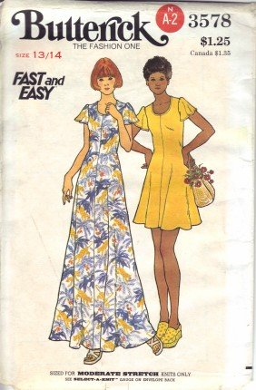 Vintage 1970's Teen Girls Flared Sleeve Mini Dress Butterick 3578 Sewing Pattern Size 13 - 14