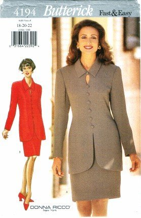 Butterick 4194 Sewing Pattern Donna Ricco Misses Top & Skirt Size 18 - 22