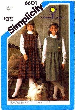 Simplicity 6601 Sewing Pattern Girls Florence Eiseman Jumper Size 12