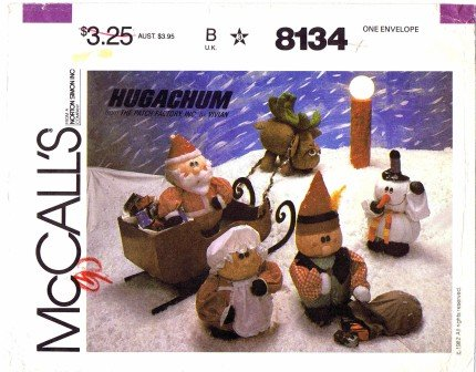 McCall's 8134 Crafts Sewing Pattern Hugachums Christmas Package