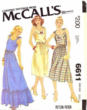 McCall's 6611 Sewing Pattern Misses Yoked Pullover Sundress Size 10 - 12 - Bust 32 1/2 - 34