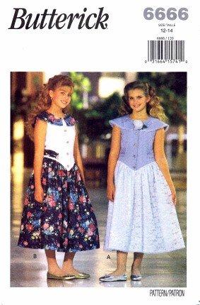 Butterick 6666 Sewing Pattern Girls Sleeveless Dress Size 12 - 14