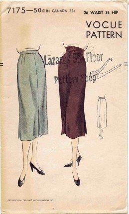 Vogue 7175 Sewing Pattern Misses Slim Skirt Waist 26