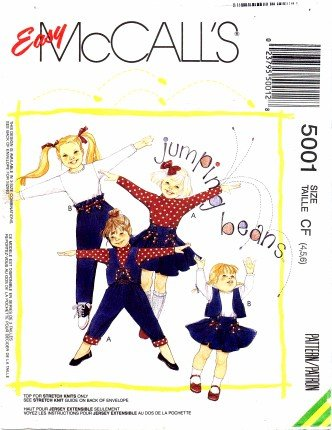 McCall's 5001 Sewing Pattern Girls Vest Tops Skirt Pants Size 4 - 6