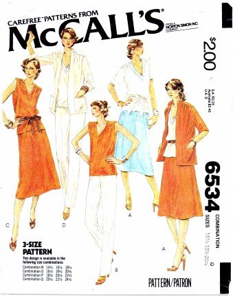 McCall's 6534 Sewing Pattern Misses Jacket Top Skirt Pants Size 16 1/2 - 20 1/2 - Bust 39 - 43