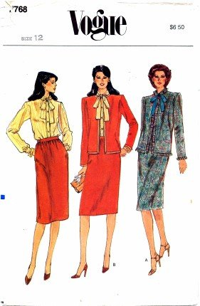 Vogue 7768 Sewing Pattern Misses Jacket Skirt Blouse Suit Size 12 - Bust 34