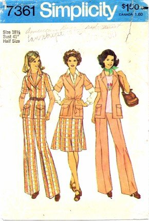 Simplicity 7361 Sewing Pattern Misses Front-Wrap Jacket Skirt Pants Size 18 1/2 - Bust 41