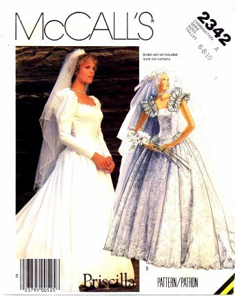 McCall's 2342 Sewing Pattern Misses Priscilla Bridal Brides Wedding Gown Dress Bust 30 1/2 - 32 1/2
