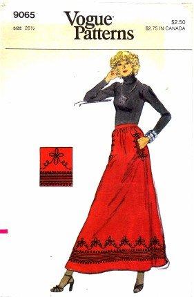Vogue 9065 Sewing Pattern Misses Braid Trim Evening Skirt Waist 26 1/2