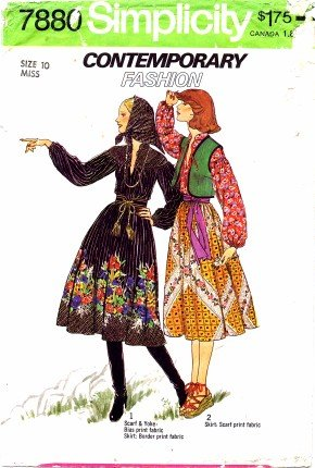 Simplicity 7880 Sewing Pattern Misses Skirt Vest Scarf Pullover Blouse Size 10 - Bust 32 1/2