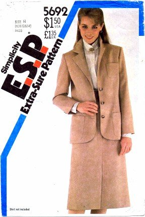 Simplicity 5692 Sewing Pattern Misses Slim Skirt Jacket Suit Size 10 - 14 - Bust 32 1/2 - 36