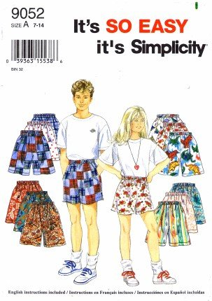 Simplicity 9052 Sewing Pattern Boys & Girls Shorts Size 7 - 14