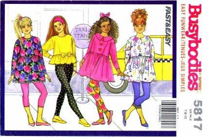 Butterick 5817 Sewing Pattern Girls Top & Leggings Size 7 - 10
