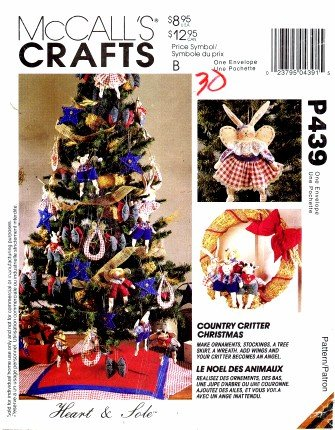 1990's McCall's 439 Crafts Sewing Pattern Country Critter Christmas Holiday